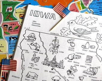 Usa Book Map Etsy - Map of midwest usa