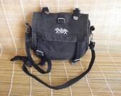 Vintage Small Size Washed Out Black Canvas Shoulder Strap Bag