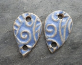 Periwinkle Drops- handmade artisan ceramic two hole connectors or earring beads 1913