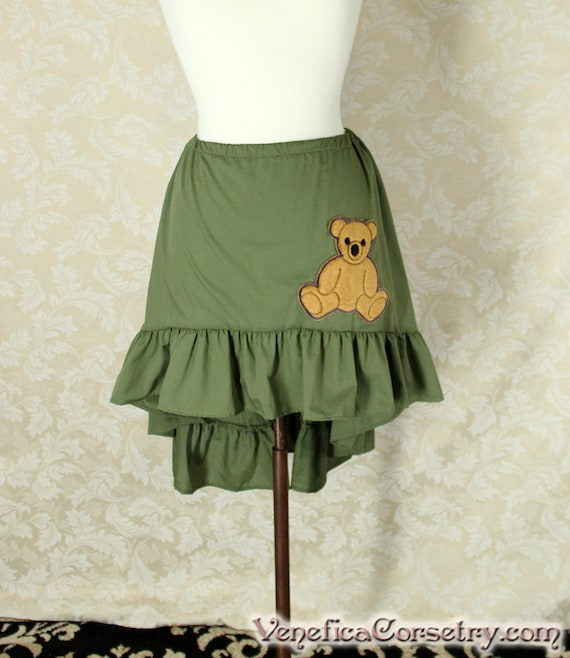 "Firefly Kaylee Inspired High Low Mini Cecilia Skirt -- Olive w/Bear Patch -- Custom Made -- Fits Up To 48"" Waist"