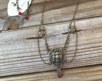 Steampunk Swag Victorian Antique Brass and Red Necklace Earring Set