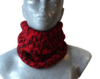 Knitted Scarf Round Infinity Red Black Extra Warm Wool