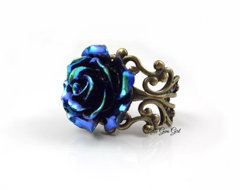 Blue Rose Ring - Iridescent Peacock Rose Ring with AB effect - 6 Metal Finishes HIGH QUALITY Adjustable Filigree Ring Rose Bridal Jewelry
