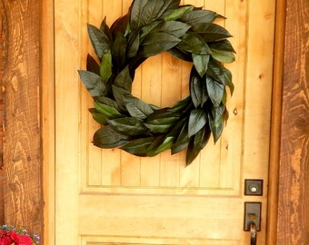 Magnolia Wreath-Winter Wreath-Farmhouse Wreath-Outdoor Wreath-Year Round Door Wreaths-Housewarming Wreath-Wedding Gift-Scented Wreaths
