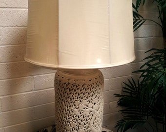 Blanc De Chine Lamp MID CENTURY LIGHTING Chinoiserie Chic Pierced Porcelain  1950's 3 Way Lighting Wood Base