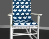 Rocking Chair Cushion Cover - Whale Navy