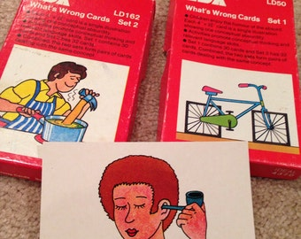 Vintage  flash cards learning by LDA 2 sets of cards what's wrong with this picture 1979