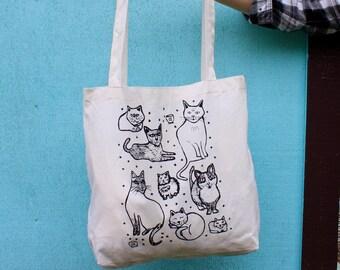 Kitty Cats - Tote Bag - Hand Screen Printed