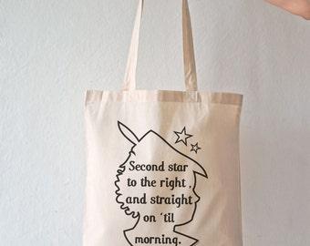 Second star Peter Pan quote tote bag-Peter Pan bag-fairy tale bag-quote tote-tote bag-second star bag-Peter quote bag- NATURA PICTA NPTB022