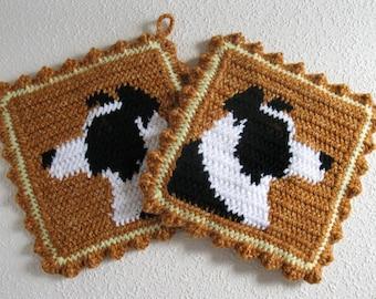 Border Collie Pot Holders. Crochet potholders with collie dogs. dog decor