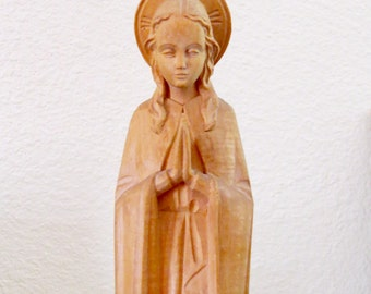 "Stunning Antique  11.75"" VIRGIN MARY Hand Carved German Wood Statue and Shrine- Great vintage condition and perfect for Christmas"