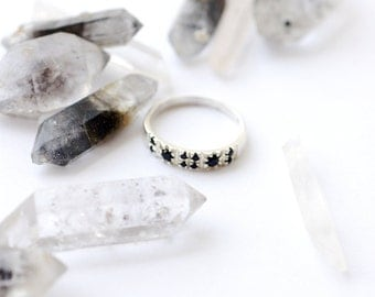 Sterling Silver Geometric Black Zircon Ring- Multistone Stackable Silver Ring - 925 Unique Black Zircon Ring - Everyday Silver Stacking Ring