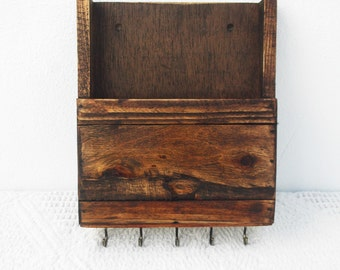 Mail Organizer and Key Rack, Reclaimed Wood Wall Mounted Mail Box, Key Storage, Rustic Mail Caddy, Kitchen Recipe Box, Letter Rack