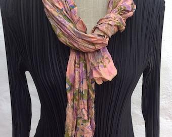 Vintage sari silk long scarf.  FREE SHIPPING