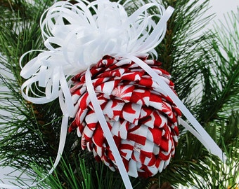 Fabric Pinecone Ornament - Red and White Peppermint Candy with White Satin Bow - Christmas Ornament, Stocking Stuffer, Co-Worker Gift