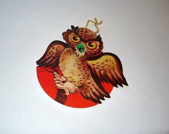 Vintage Halloween die cut / Owl moon decoration Dennison /  wall decor / craft scrapbook ephemera/  fall autumn harvest party school