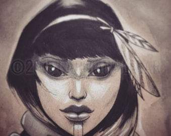 Sketch of a beautiful tribal girl with feathers in her hair, big eyes, original ink drawing, art