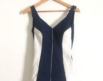 1950 1960 Pin-up dark blue bathing suit XL