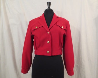 BLASSPORT Bill Blass vintage jacket - red wool - military New Romantic glam 1980s sz S