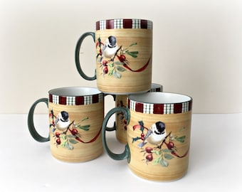 Winter Greetings Chickadee Lenox Holiday Coffee Mugs
