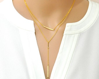 Small Skinny Bar Necklace / Blank Bar Necklace / Gold Bar Necklace / Gold Y Necklace / Gold Bar Y Necklace