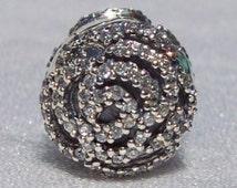 Shimmering Delicate Rose Clip Pandora CZ High Fashion Designer Genuine Pandora Bracelet Clip Charm FREE SHIPPING Gift Box Sold Separately