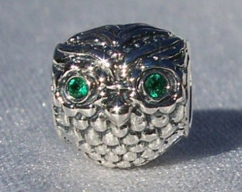Pandora Wise Owl Dark Green CZ Genuine Pandora Bracelet Charm FREE SHIPPING