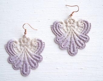 Lavender and Ivory Lace Earrings