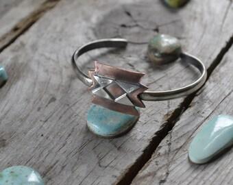 butterfly cuff // blanket pattern geometric cuff // copper and sterling silver cuff //