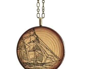 Ship on the Sea Wood Pendant Necklace // Antique Brass Long Chain // Gift for Her