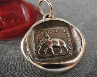 Elephant Wax Seal Charm - Reason Is My Strength antique wax seal jewelry pendant French motto by RQP Studio