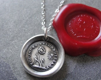 Wax Seal Necklace - gratitude motto Thankful - antique French wax seal jewelry with flower