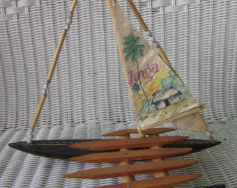 Cadermeran Nautical Souvenir Tonga Ship Child Toy Handmade Vintage