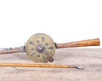 Antique Wooden Fishing Rod & Copper Reel / Mathews Conveyer Co. Halibut Reel / Old Fishing Reel / Metal Fishing Reel / Fishing Decor Gift
