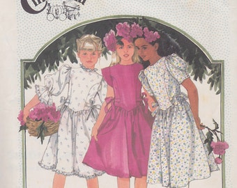 1986 Princess Diana Tween Party Frock Vintage Pattern, Simplicity 7342, Cinderella Puffed Sleeve, Pointy Waist, Victorian Style Flower Girl