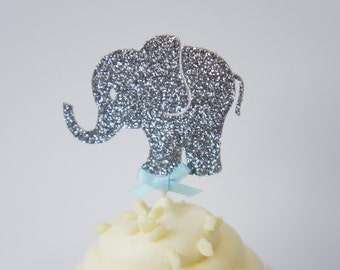 Set of 12 Silver Glitter Elephant Cupcake Toppers With Blue Bow Boy Baby Shower