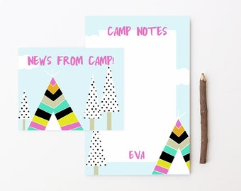 Camp Postcards for Girls Summer Camp Notepad Set Camp Note Cards Letters From Camp Girls Stationery Girl Teepee Tent Personalized Stationary