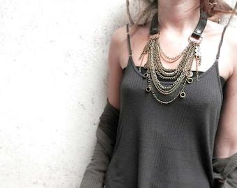 SYNCOPE 001⎜Handmade multi strand leather necklace⎜Boho punk Necklace⎜Layered necklace⎜Post apocalyptic necklace⎜Burning man jewelry