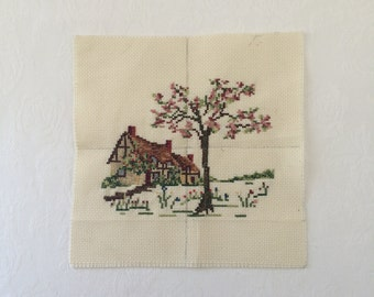 Vintage Cross Stitch Cottage Completed Cross Stitch