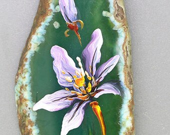 Hand Painted Agate Flower Pendant