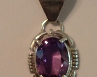 Purple Amethyst Quartz Crystal Pendant in Sterling Silver small