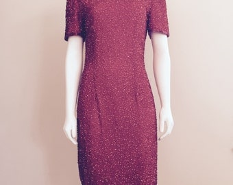80s Sequin Dress / Red / 80s Dynasty Dress / Christmas Dress / Studio 54