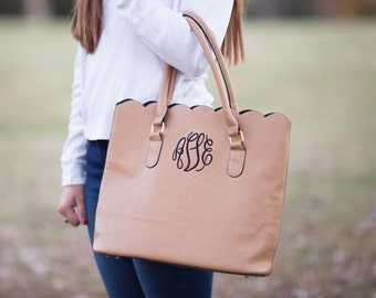 Monogram Scallop Tote Bag