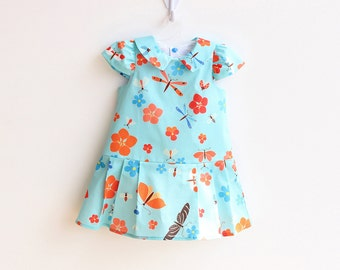 BLOOMS Girl Baby Girl Dress sewing pattern Pdf , Easy Capped Sleeve woven Girl Collared Dress, newborn up to 10 years