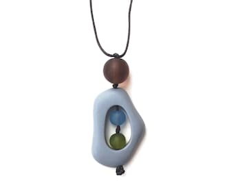 Baby Safe Mom Necklace - Non Toxic Resin Nursing Breastfeeding Necklace, Twiddle Buster, Grey, Olive green, Pantone Serenity Blue, Brown