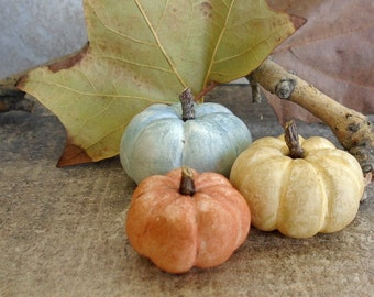Halloween Pumpkins  fall home decoration miniature clay Autumn rustic Thanksgiving pumpkins - yellow orange teal blue - harvest  set of 3