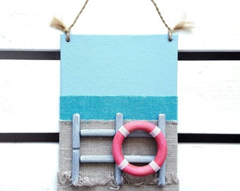 Beach canvas sign - Beach decor - Nautical kids room decor - Beach nursery decor - 3D fabric canvas sign - Beach life buoy sign - Fiber Art
