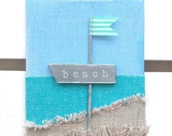 Beach sign - Beach decor - Kids room decor - Nautical nursery art - 3D fabric canvas Sign - Beach house decor - Seaside wall art - Beach