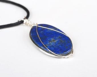Lapis Necklace, Lapis Lazuli, Lapis Jewelry, Oval Stone Lapis, Christmas Gift for Her, Jewelry Gifts for Her, Blue Lapis Stone, For Her