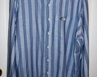 50 CENT SAlE Vintage Men's Blue & Gray Striped Shirt Raintree Southern Collection by Hampton X Large Now .50 USD